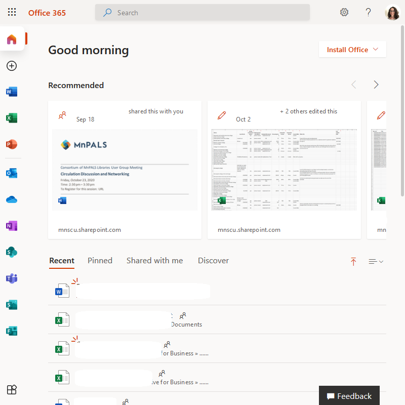 office 365 home page screen shot