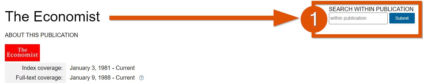 screenshot of Economist search interface